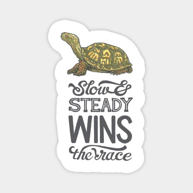 Slow Steady Wins The Race Turtle Magnes Teepublic Pl