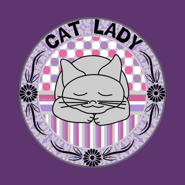 Cat Lady Pink Pattern Oval