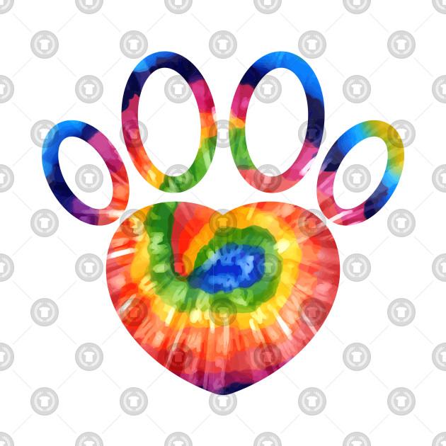 Dog Paw Tie Dye Cat Paw Print Animal Lover Birthday Tee Gift