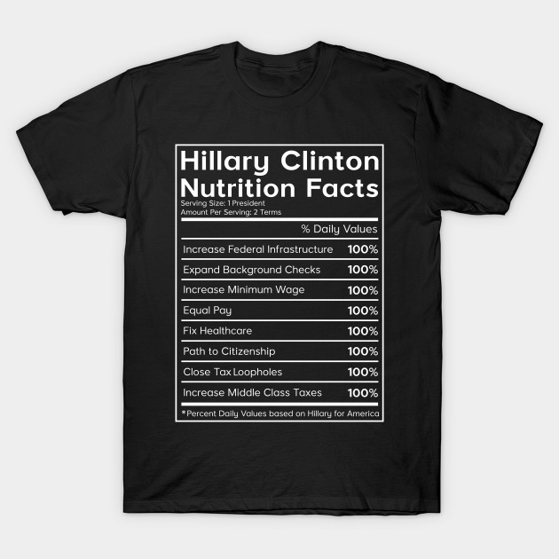 8fdcad3d5 Hillary Clinton Nutrition Facts Political T-Shirt - Im With Her - T ...