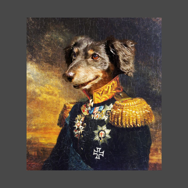 Walter Portrait (Retro Dog Military Painting)