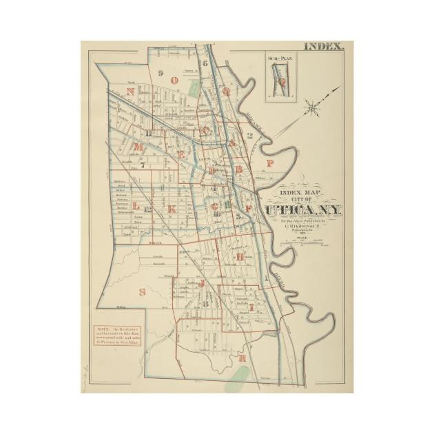 Vintage Map Of Utica New York 1883 Utica Map T Shirt Teepublic