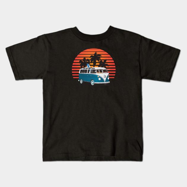 4446599615f754 Aquamarine 21 Window Surfer Van with Sunset - Surf Van - Kids T ...