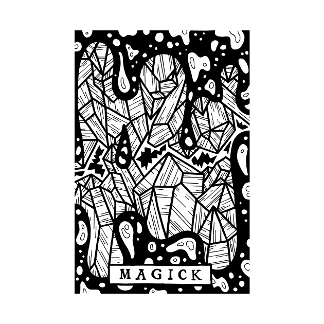 Magick Crystals - Tarot Style Black and White Illustration