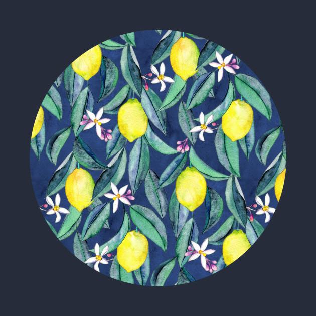 When Life Gives You Lemons - watercolor lemons on dark blue
