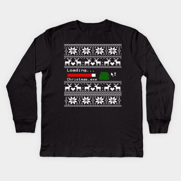 Geeky Ugly Christmas Sweater Design Christmas Kids Long Sleeve T