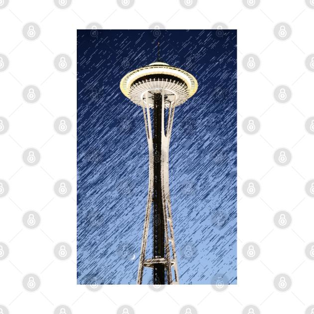 Seattle Space Needle rainy Night
