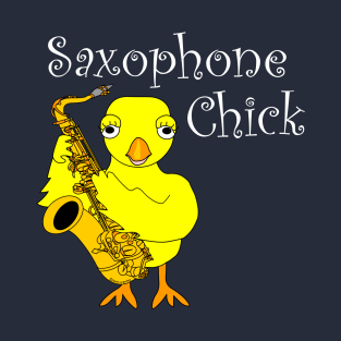 Saxophone Chick White Text