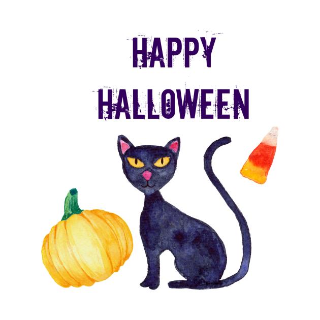 Happy Halloween Black Cat Pumpkin