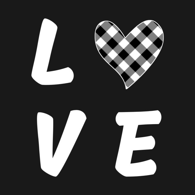 Black and White love heart Valentine's day gift