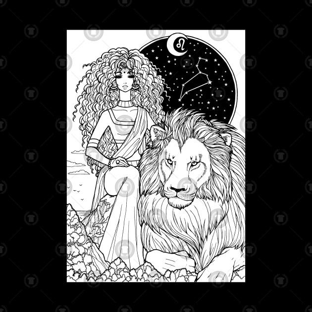 Indian Leo In Black Design