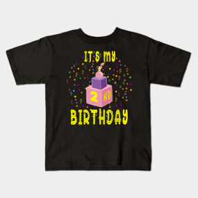 Birthday Shirt 2nd Second Blocks Bricks Gift Tee Kids T