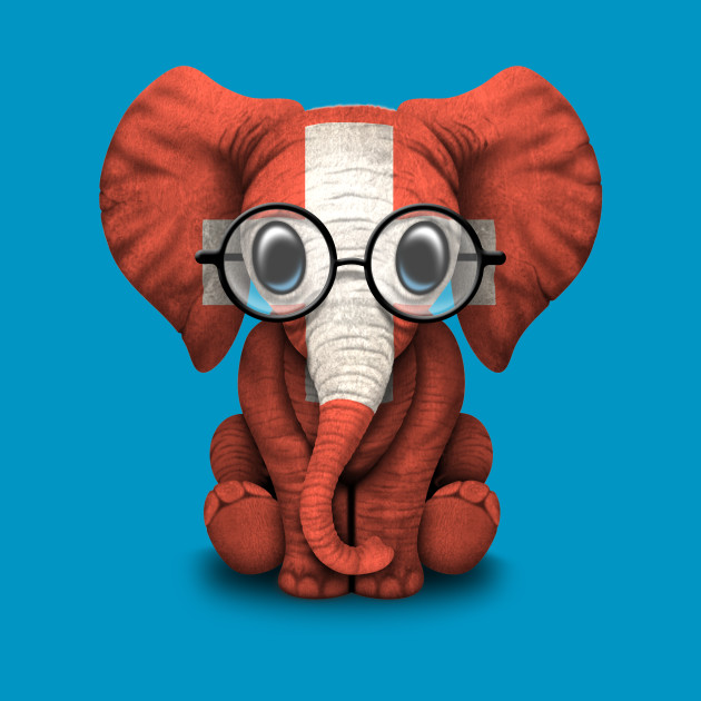 Baby Elephant with Glasses and Swiss Flag