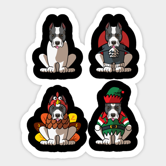 Halloween Thanksgiving Christmas Clipart.Staffordshire Bull Terrier Halloween Thanksgiving Christmas Dog Greetings Gift