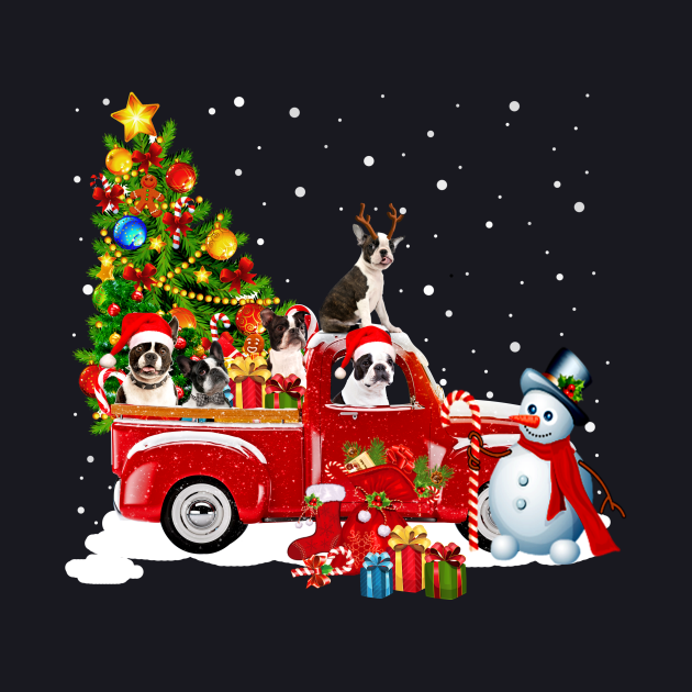 Red Truck Merry Christmas Tree Terrier Dog Christmas T-Shirt