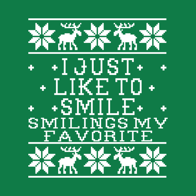 Ugly Christmas Sweater Design.I Just Like To Smile Elf Movie Quote Ugly Christmas Sweater Design
