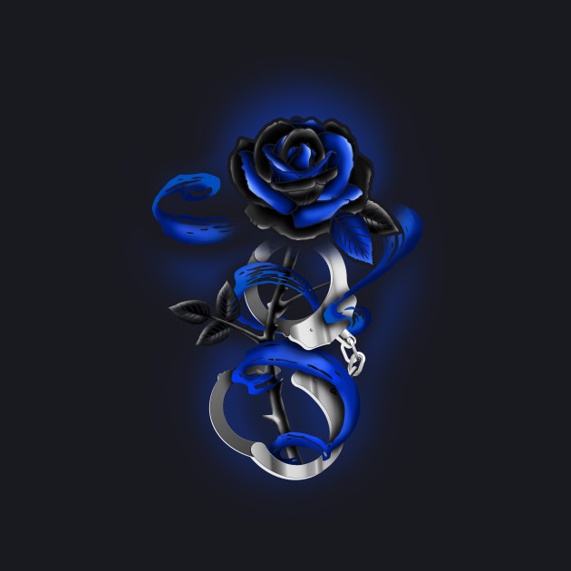 Rose tattoo Police Thin Blue Line