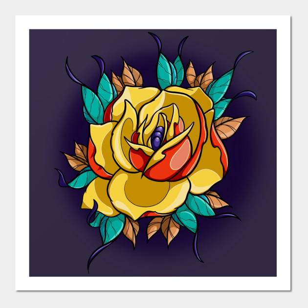 Yellow rose tattoo - Rose Tattoo - Wall Art | TeePublic