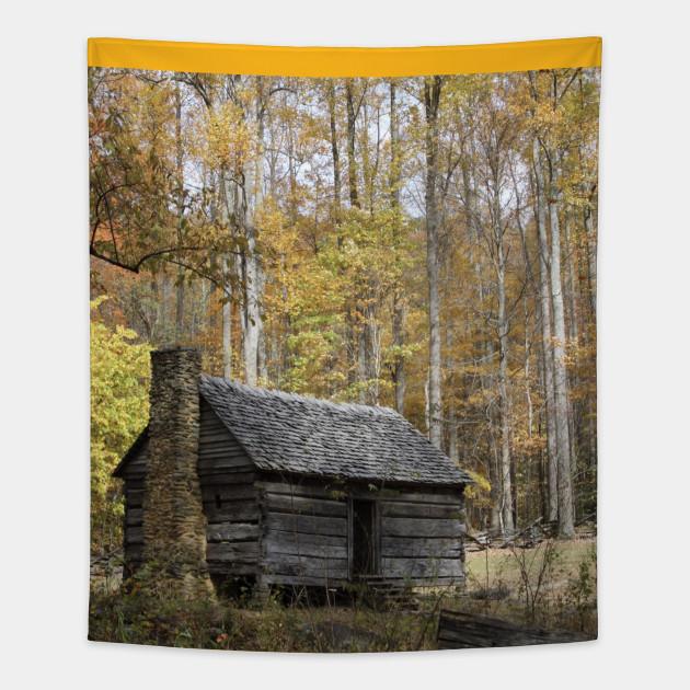 Smoky Mountain Rural Rustic Cabin Autumn View