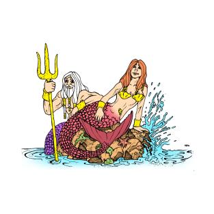 Mermaid and Merman t-shirts