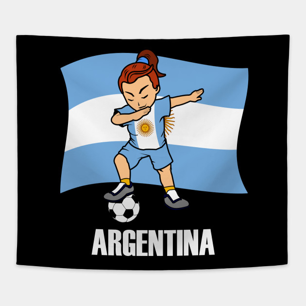 2774316fde6 Dabbing Soccer Girl Argentina Flag Jersey - Argentine Football Tapestry