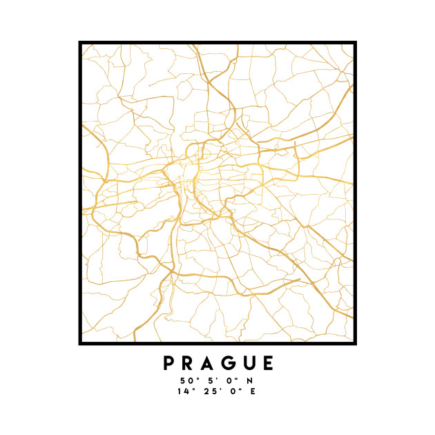 PRAGUE CZECH REPUBLIC CITY STREET MAP ART