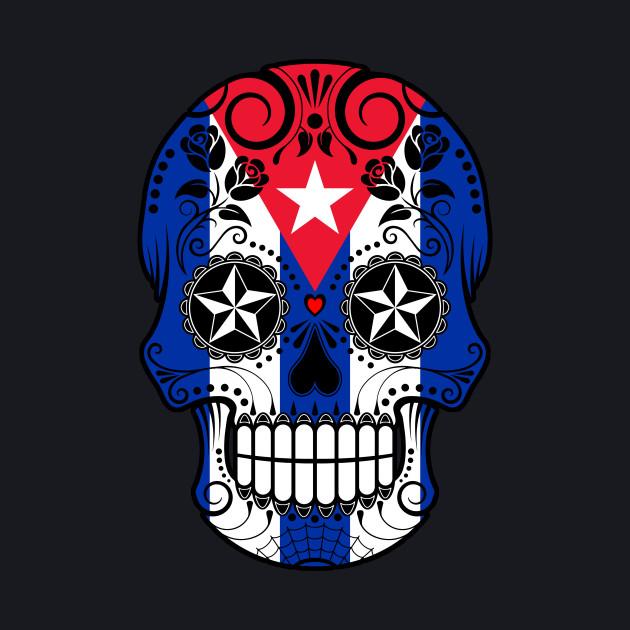 Cuban Flag Sugar Skull with Roses