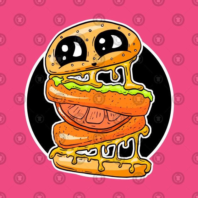 Cheesy Vicky Chicken Burger Cartoon