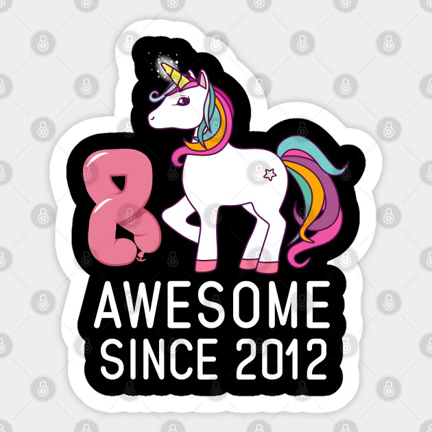 Awesome Unicorn 2012 Girl birthday Party T-shirt Tee top 8 years eighth