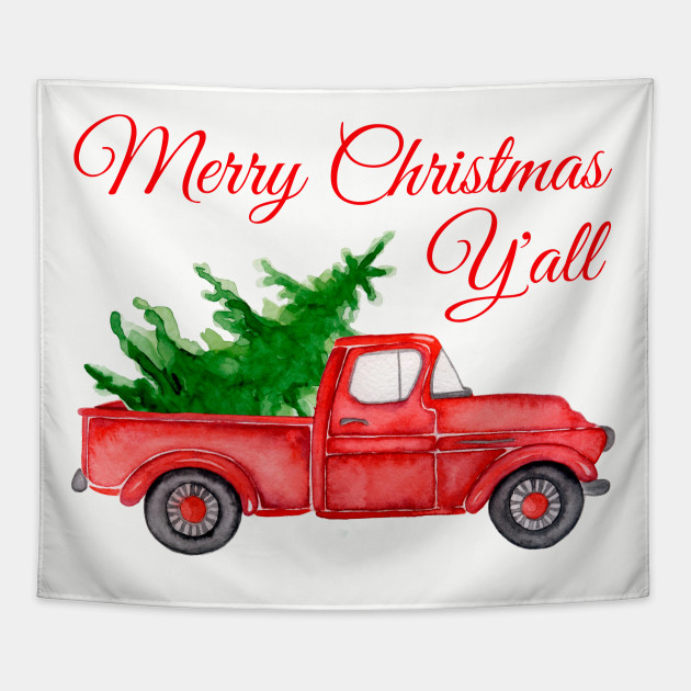 Old Red Truck With Christmas Tree In Back.Merry Christmas Y All Watercolor Red Truck Farm Fresh Tree