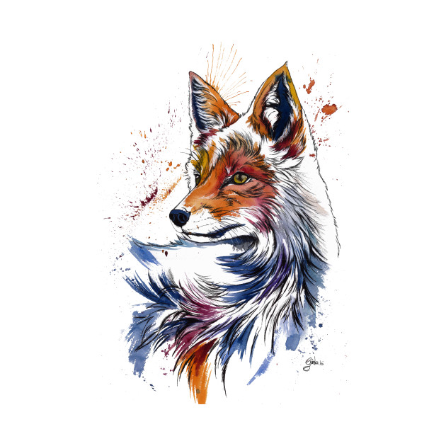 Hd Wallpapers 3d Art Tattoo Design: FOX Colorful Watercolor - Fox - T-Shirt