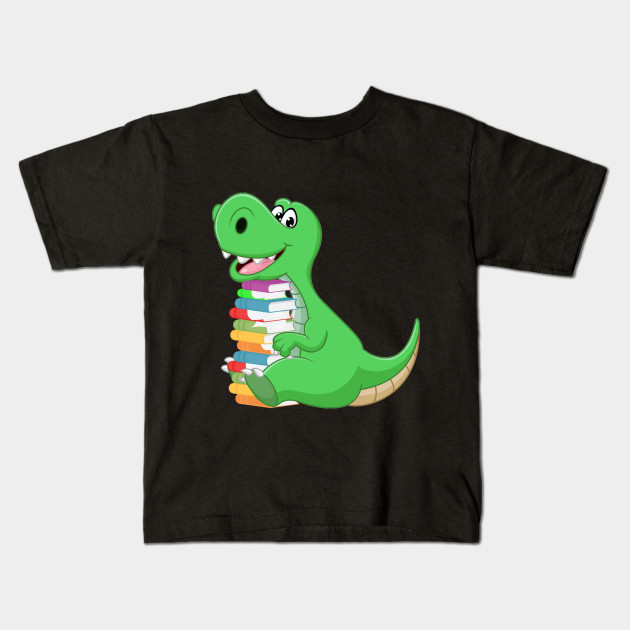 2e029e38909b Dinosaur With Stack Of Books Shirt Funny Readers G - Pet Lover ...