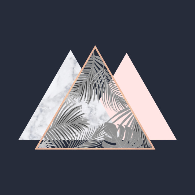 Copper blush gray marble geometric triangles pattern