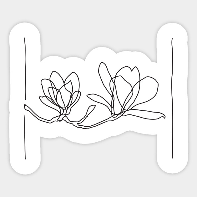 Magnolia Flowers Line Drawing Black Magnolia Sticker Teepublic