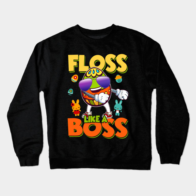 cb59fe5de302 Easter Shirt for Boys Kids Floss Like A Boss Egg Flossing Crewneck  Sweatshirt