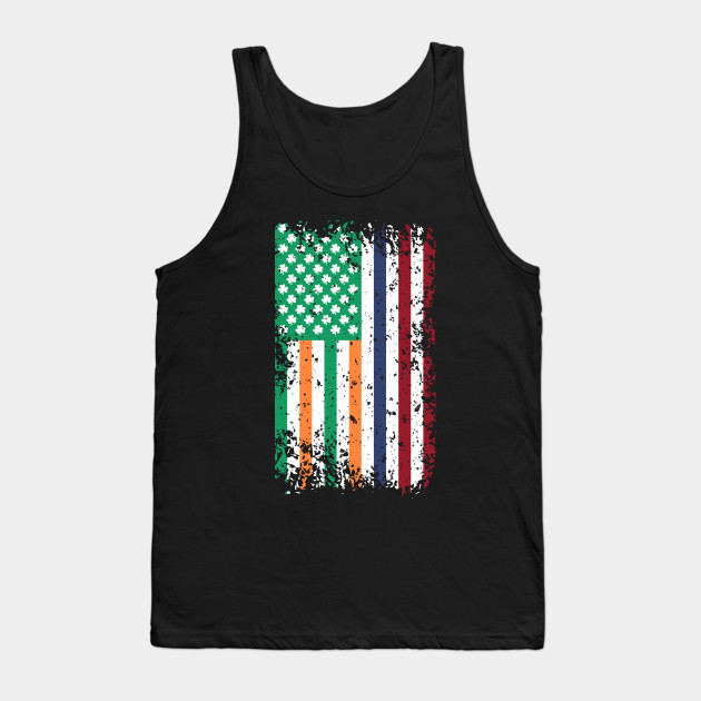 Irish American Flag & Shamrock Leaves