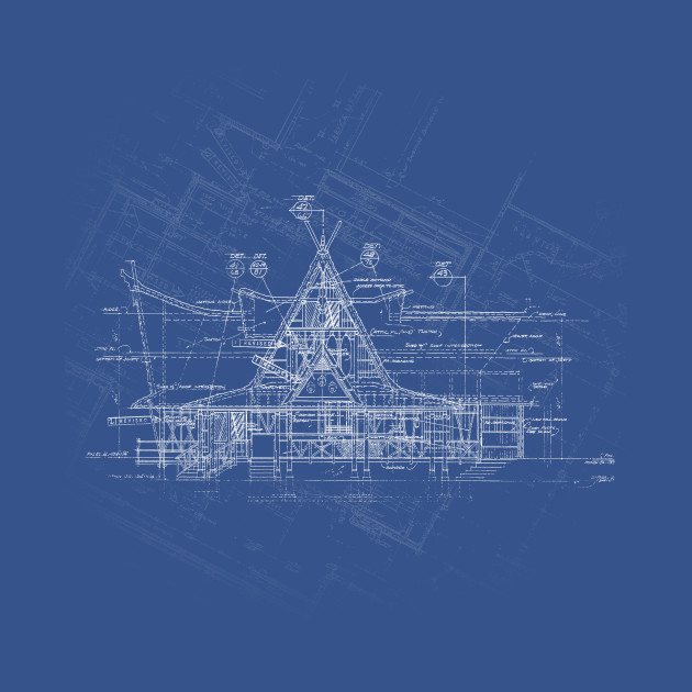 Tiki Room Blueprint Disney TShirt TeePublic