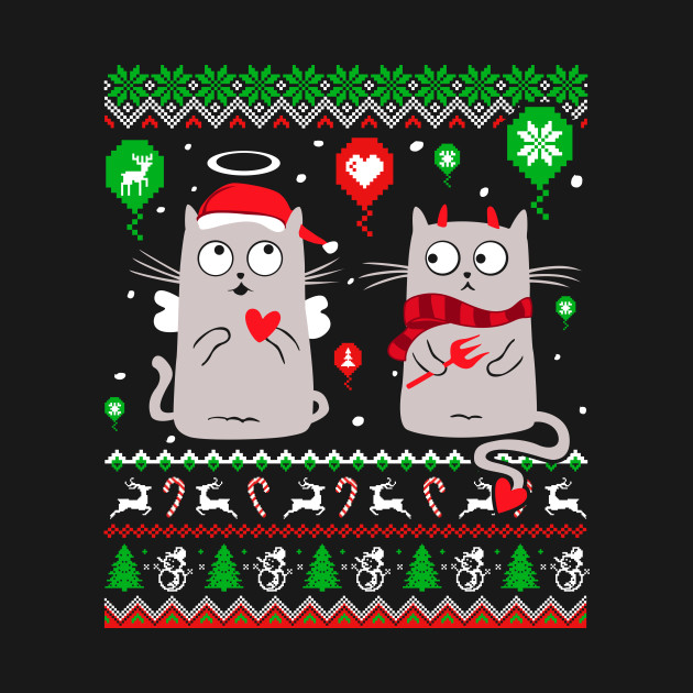 Halo Halo Christmas Cat Lover T Shirt