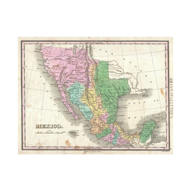 vintage map of mexico 1827 mexico map t shirt teepublic