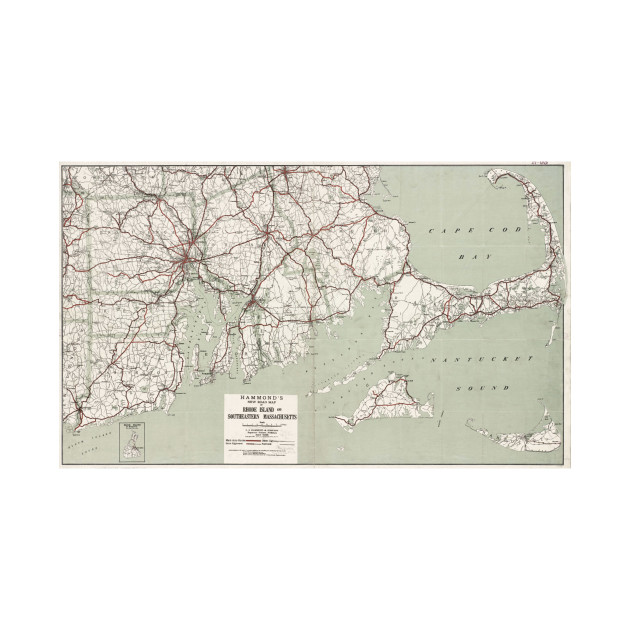Vintage Cape Cod and Rhode Island Map (1917) - Cape Cod Map - T ...