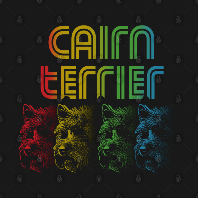 Cool Retro Groovy Cairn Terrier Dog