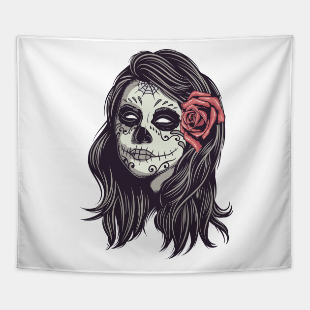 Cool Sugar Skull Female With Rose In Hair