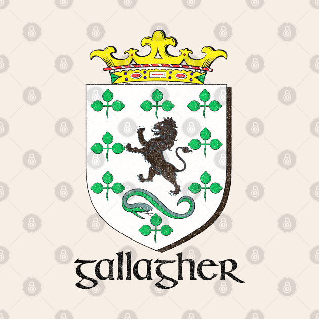 Gallagher / Faded Style Family Crest Design