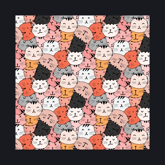 Busy red cat cartoon face pattern