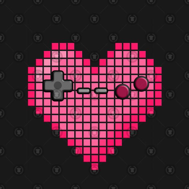 Pixel Art Heart Video Game Controller