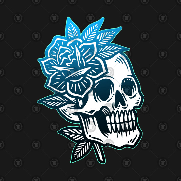 Skull and Roses Vintage Tattoo Flash American Traditional ...