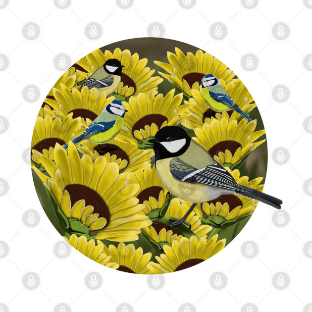 Titmice and Sunflowers Illustration