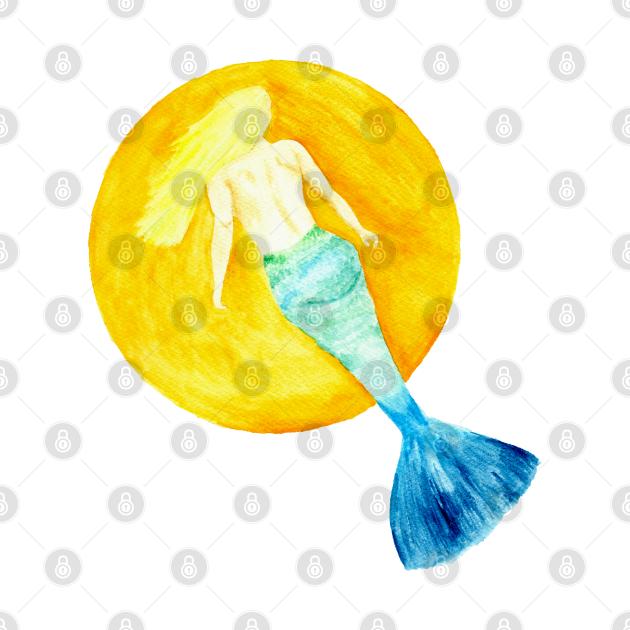Electric Blue Ram Mermaid - MerMay - Watercolour