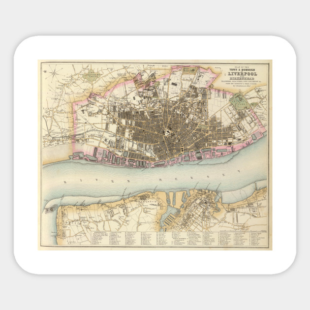 Vintage Map of Liverpool England (1872) - Liverpool Map - Sticker ...