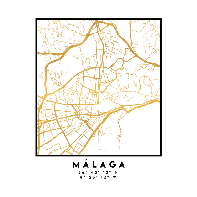 MALAGA SPAIN CITY STREET MAP ART Malaga Crewneck Sweatshirt